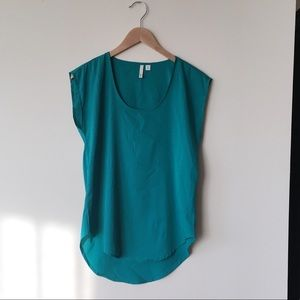 Frenchi Nordstrom Tunic Blouse Top XS Teal Green